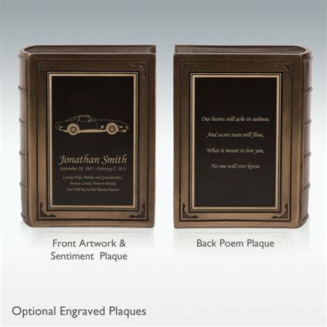 small chevy corvette book cremation urn engravable
