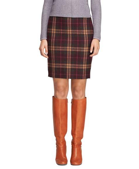 s wool burgundy plaid pencil skirt brothers