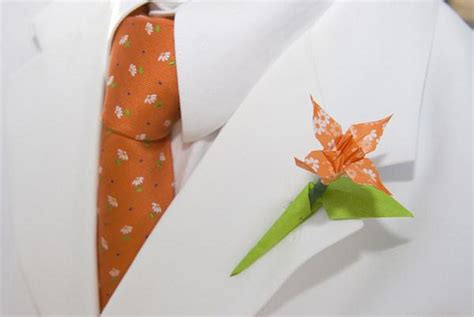 Origami Buttonhole Flower - an origami wedding arabia weddings