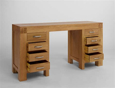 Oak Vanity Table With Drawers Santana Oak Dressing Table Desk With 8 Drawers