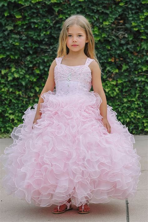 Sleeveless Organza Dress by Pink Sleeveless Ruffle Organza Gown Flower Dress With