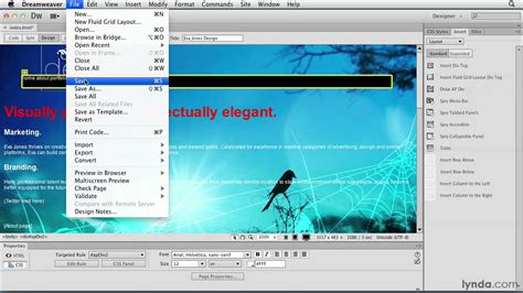 tutorial in dreamweaver cs6 dreamweaver cs6 tutorial positioning elements lynda com