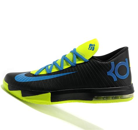 fluorescent basketball shoes nike kd6 black color fluorescent green kevin durant