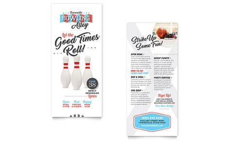 rack card templates for pages bowling rack card template design