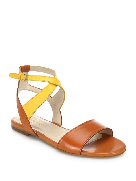 wrap sandals cole haan fenley two tone leather ankle wrap sandals lyst
