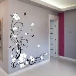Large Decorative Wall Stickers by Large Butterfly Vine Flower Wall Stickers Wall Decals