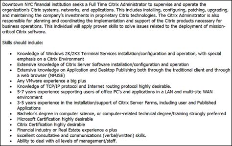 citrix administrator resume sle where and how to buy cheap ink pcworld citrix admin