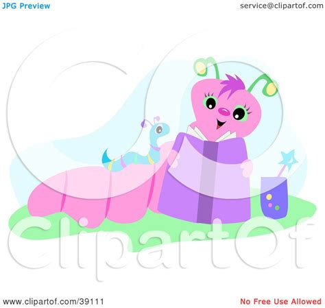 Baby Reading Pink clipart illustration of a pink worm reading to baby by bpearth 39111
