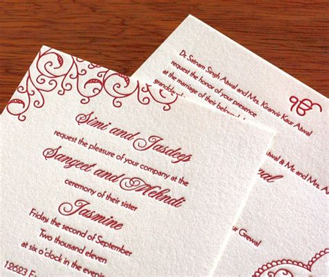 sikh wedding invitation wording letterpress wedding - Sikh Wedding Card Invitations