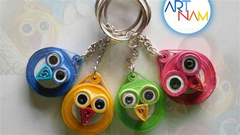 How To Make A Keychain With Paper - how to make paper quilling owl keychain paper quilling