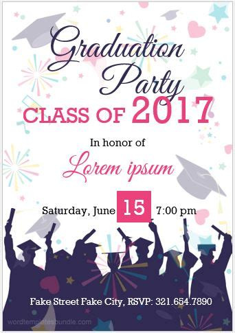 10 Best Graduation Party Invitation Card Templates Ms Word Formal Word Templates Graduation Invitation Templates Microsoft Word