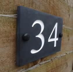 engraved honed slate house number sign plaque