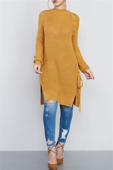 yellow lace  design long sleeve sexy sweater dress