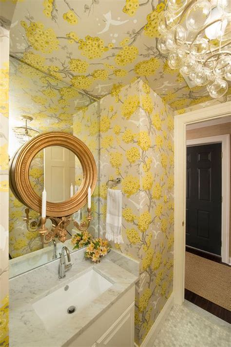 powder room  blue  gold trellis wallpaper
