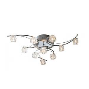 utopia large modern low ceiling light with cube glass