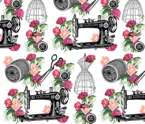varias imagenes a pdf online vintage sewing and roses fabric 13moons design spoonflower