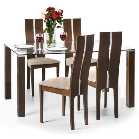 walnut dining table and 4 chairs dining set cayman dining table and 4 chairs in walnut cay803