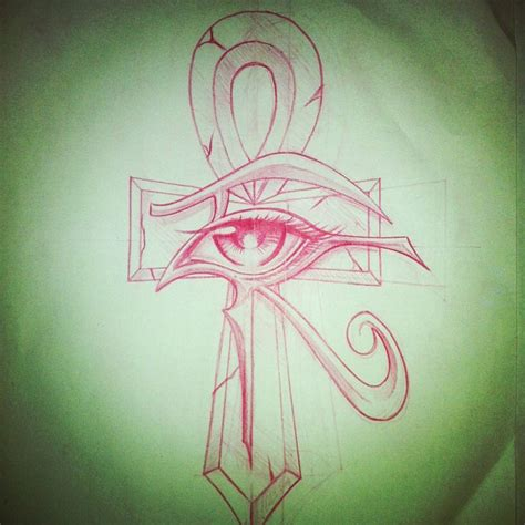 red ink eye of horus ankh tattoo design tattoos