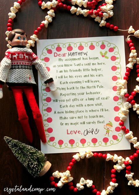 elf   shelf printables  letter