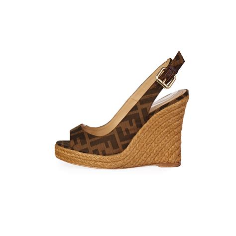 Wedges 5r fendi zucca wedges brown s 36 3 5 luxity