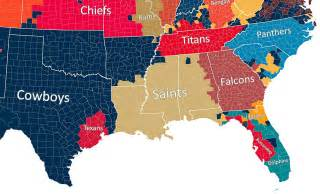 us map of nfl cities map shows which nfl team every us county roots for