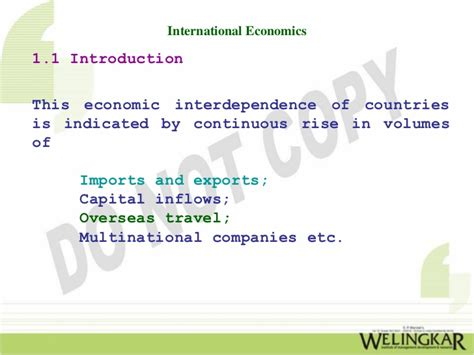 International Economics 1 international economics introduction