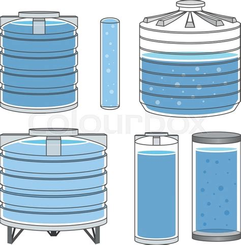 Faucet Supplier Industrial Water Tanks Full Set Vector Illustration