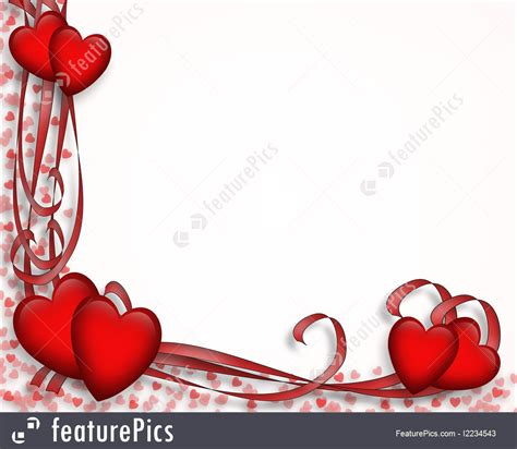 Illustration Of Valentine Hearts And Ribbons Border
