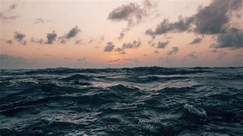 wallpaper sea waves horizon sky clouds storm hd