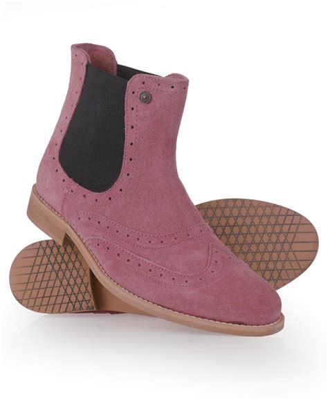 new womens superdry mills boots suede pink ebay