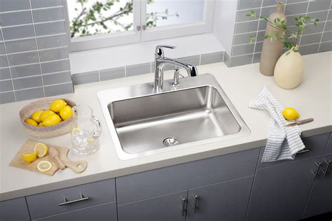 Drop In Sink Kitchen Elkay Kitchen Sinks Elkay Gourmet Slim Drain Bowl Drop In Stainless Steel