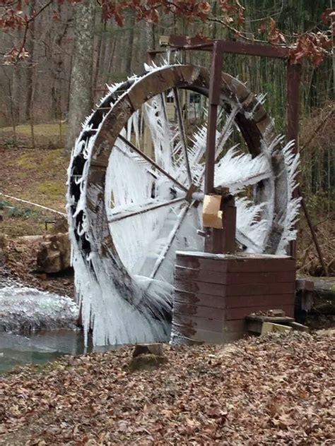 backyard water wheel frozen water wheel garden ideas pinterest