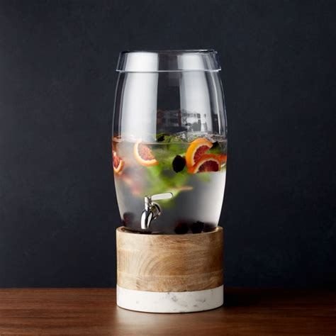 oregon glass drink dispenser  wood  marble stand reviews crate  barrel