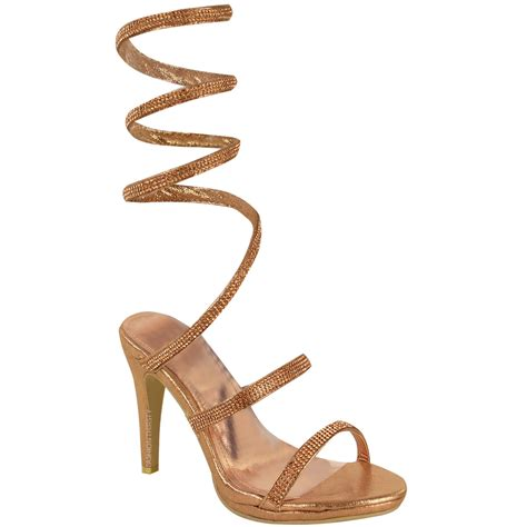 celeb high heel womens ladies high heel diamante spiral sandals gladiator