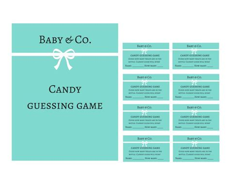 themes for guessing games tiffany baby shower games candy guessing game baby