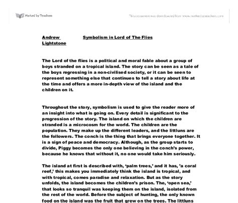 Lord Of The Flies Essay by Symbolism In Lord Of The Flies Gcse Marked By Teachers
