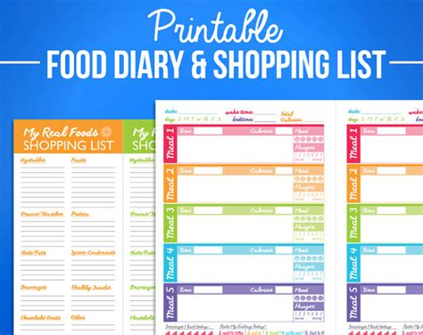 printable food journal calorie counter printable food journal diet diary calorie counter colorful