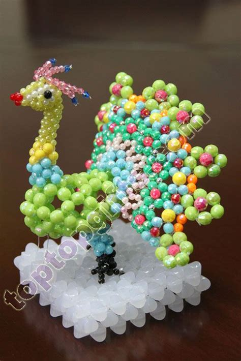 3d beaded gifts gt beaded decorations gt 3d beaded peacock animal