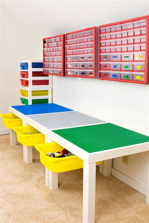 diy lego table adhesive lego play table with drawer storage ikea hackers