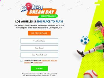 Airheads Sweepstakes - nickelodeon airheads dream day sweepstakes limited entry