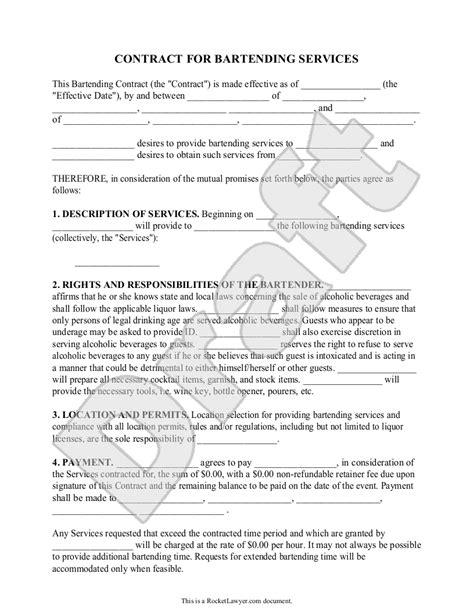 bartender templates sle bartending contract form template bartending