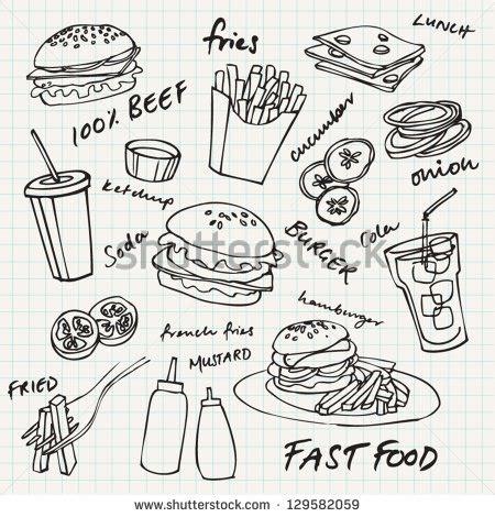 fast doodle fast food hamburger doodle set stock vector 129582059