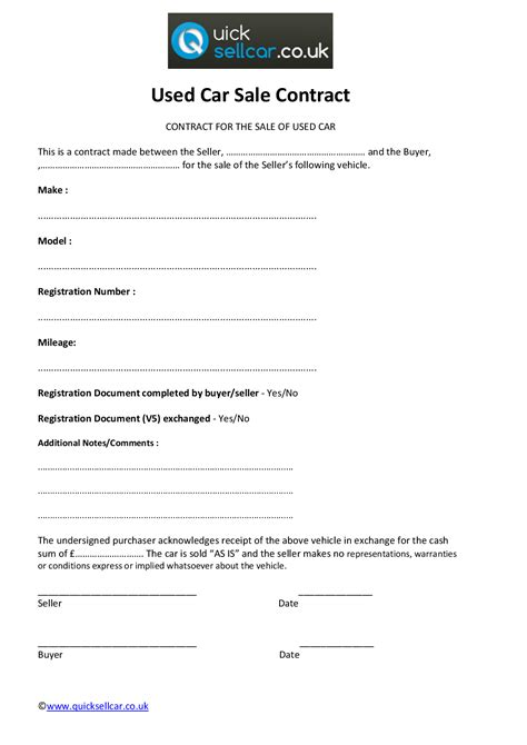 car selling contract template 10 best images of used car sale agreement sle used