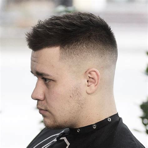 low fade round face crew cut hairstyle for round face life style by