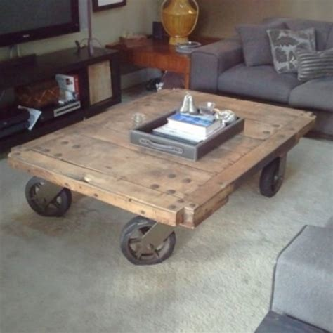 railroad cart coffee table i casters