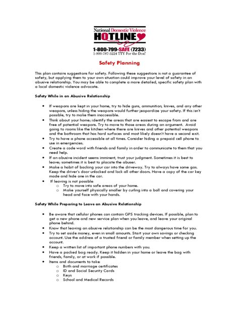 environmental health and safety plan template domestic violence safety plan worksheet defendusinbattleblog