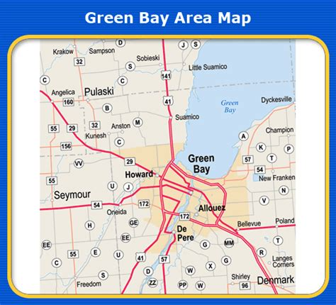 green bay map green bay area map