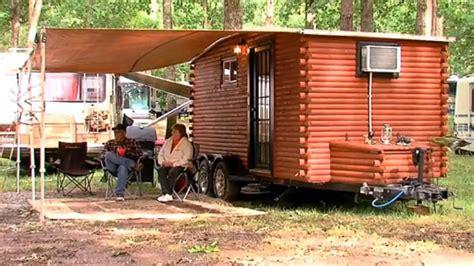 log cabin trailer cottage local uses boat trailer to make log cabin on wheels