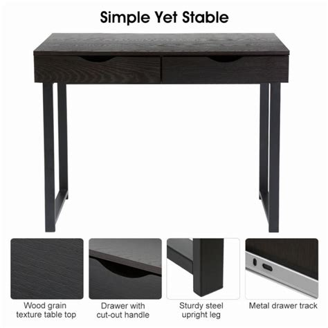 Console Table Computer Desk Langria Minimalist Computer Desk Console Table With 2 Drawers Home Laptop Table Furniture Black
