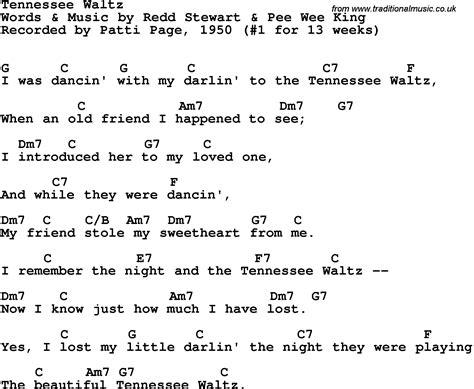 waltz lyrics song lyrics with guitar chords for tennessee waltz patti